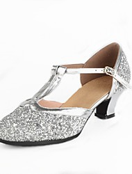 cheap -Women's Modern Shoes / Ballroom Shoes Paillette Toggle Clasp Heel Splicing / Paillette Customized Heel Customizable Dance Shoes Gold / Silver / EU40