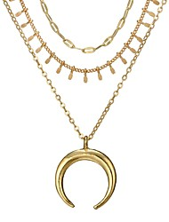 cheap -Women's Layered Necklace Moon Crescent Moon double horn Ladies Simple Fashion Alloy Gold Necklace Jewelry For Daily Holiday