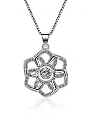 cheap -Women's Cubic Zirconia Pendant Necklace Flower Classic Vintage Fashion Zircon Silver Silver Necklace Jewelry One-piece Suit For Wedding Engagement