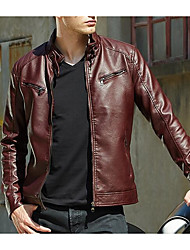 cheap -Men's Going out Street chic Fall / Winter Regular Leather Jacket, Solid Colored Stand Long Sleeve PU Brown / Black / Red