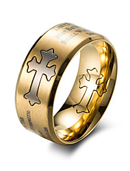 Недорогие -Муж. Кольцо Золотой Черный Титановая сталь Титан Сталь Круглый Мода Офис Офис и карьера Бижутерия