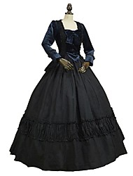 cheap -Marie Antoinette Rococo Baroque 18th Century Dress Masquerade Women's Costume Bule / Black Vintage Cosplay Party Prom Floor Length Ball Gown Plus Size Customized