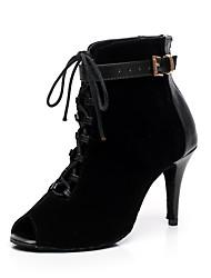 Недорогие -Жен. Танцевальная обувь Синтетика Танцевальные сапожки Отделка Ботинки На шпильке Персонализируемая Черный / Темно-лиловый / В помещении / EU38