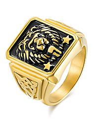 Недорогие -Муж. Кольцо Кольцо с печаткой Золотой Титановая сталь Титан Сталь Мода Армия Офис Офис и карьера Бижутерия