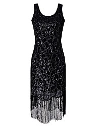 cheap -Charleston 1920s The Great Gatsby Roaring Twenties Flapper Dress Women's Sequins Lace Costume Black / Golden Vintage Cosplay Party Homecoming Prom Short Sleeve