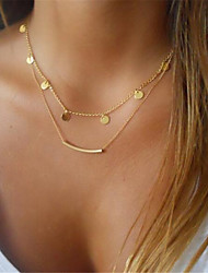 cheap -Women's Layered Necklace Double Bar Ladies Classic Metal Alloy Gold Silver Necklace Jewelry 1pc For Gift Daily