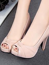cheap -Women's Heels Stiletto Heel Peep Toe PU Comfort / Novelty Spring / Summer Black / Pink / Beige / Wedding / Party & Evening / Party & Evening