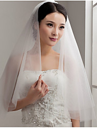 cheap -Two-tier Cut Edge Wedding Veil with Ruffles Tulle / Classic