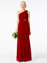 cheap -Sheath / Column One Shoulder Floor Length Mesh / Chiffon Bridesmaid Dress with Lace / Side Draping