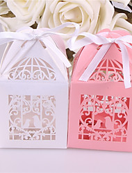 cheap -Square Pearl Paper Favor Holder with Ribbons Favor Boxes - 10pcs