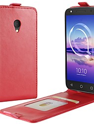 cheap -Case For Alcatel Alcatel U5 HD / Alcatel U5 3G / Alcatel U5 4G Card Holder / Flip Full Body Cases Solid Colored Hard PU Leather