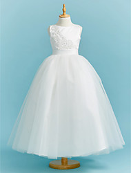 cheap -Ball Gown Crew Neck Floor Length Lace / Tulle Junior Bridesmaid Dress with Sash / Ribbon / Pleats / Beading