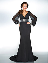 cheap -Sheath / Column Plunging Neck Sweep / Brush Train Chiffon Chic & Modern / Elegant Formal Evening / Black Tie Gala Dress 2020 with Sequin / Crystal Brooch
