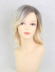 cheap -Human Hair Wig Medium Length Natural Wave Layered Haircut Natural Wave Highlighted / Balayage Hair Side Part Machine Made Women's Grey 14 inch