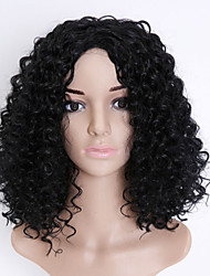 cheap -Synthetic Wig Curly Kinky Curly Kinky Curly Asymmetrical Wig Short Medium Length Natural Black Synthetic Hair Women's Natural Hairline Middle Part Black