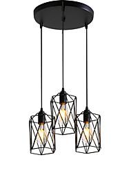 cheap -3-Light 3-Head Vintage Black Metal Cage Shade Pendant Lights Living Room Dining Room Light Fixture Painted Finish