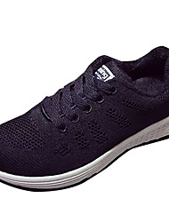 cheap -Women's / Unisex Athletic Shoes Flat Heel PU Comfort Fall Black / Blue+Pink / Running Shoes