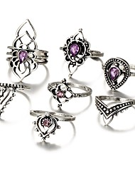 cheap -Women's Knuckle Ring Amethyst Silver Metal Alloy Irregular Ladies Rock Daily Bar Jewelry