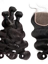 cheap -3 Bundles with Closure Brazilian Hair Body Wave Human Hair Hair Weft with Closure Human Hair Weaves Human Hair Extensions / 8A