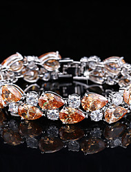 cheap -Women's Synthetic Diamond Bracelet Rhinestone Bracelet Jewelry White / Purple / Orange For Wedding Party / Silver Plated