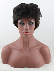 cheap -Synthetic Wig Curly Curly Asymmetrical With Bangs Wig Short Medium Brown Synthetic Hair Women's Highlighted / Balayage Hair Natural Hairline Brown