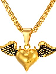 cheap -Women's Pendant Necklace Wings Heart Vintage Stainless Steel Gold Silver Necklace Jewelry One-piece Suit For Gift Daily