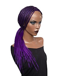 cheap -Synthetic Lace Front Wig Curly Curly Asymmetrical Lace Front Wig Long Purple Synthetic Hair Women's Faux Locs Wig Natural Hairline Braided Wig Purple