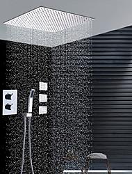 cheap -Shower Faucet - Contemporary Chrome Wall Installation Ceramic Valve Bath Shower Mixer Taps / Brass
