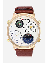 cheap -SHI WEI BAO Men's Sport Watch Military Watch Quartz Leather Black / Brown / Dark Green Thermometer Compass Dual Time Zones Analog Casual Fashion - Black LightBlue Brown One Year Battery Life