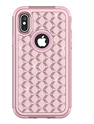 cheap -Case For Apple iPhone X / iPhone 8 Plus / iPhone 8 Shockproof / Rhinestone Full Body Cases Armor Hard TPU