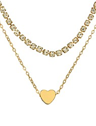 cheap -Women's Layered Necklace Heart Ladies Simple Fashion Alloy Gold Silver Necklace Jewelry For Daily Holiday