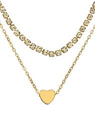 Недорогие -Жен. Слоистые ожерелья Сердце Дамы Простой Мода Сплав Золотой Серебряный Ожерелье Бижутерия Назначение Повседневные Праздники