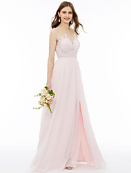 cheap -A-Line Illusion Neck Floor Length Chiffon / Floral Lace Bridesmaid Dress with Appliques / Sash / Ribbon