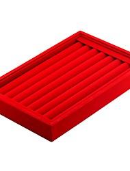 Недорогие -Коробки для бижутерии запонки Box Квадратный Льняной Черный Белый Красный Яркий розовый Темно-серый Жесткая кожа