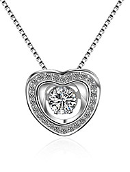 cheap -Women's Cubic Zirconia Moissanite Pendant Necklace Heart Love Classic Vintage Fashion Zircon Silver Silver Necklace Jewelry One-piece Suit For Wedding Engagement