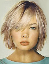 cheap -Human Hair Capless Wigs Human Hair Straight Layered Haircut / Short Hairstyles 2019 Halle Berry Hairstyles Ombre Hair / Dark Roots Ombre Medium Length Machine Made Wig
