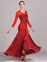 cheap -Ballroom Dance Dress Pattern / Print Women's Performance Long Sleeve High Tulle Ice Silk