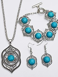 cheap -Women's Turquoise Drop Earrings Necklace Ladies Simple Ethnic western style Turquoise Earrings Jewelry Green For Daily