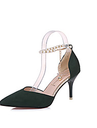 cheap -Women's Heels Stiletto Heel PU(Polyurethane) Comfort Spring / Fall Black / Yellow / Green / Dress / 3-4 / EU39