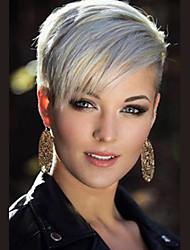 cheap -Human Hair Blend Wig Short Straight Pixie Cut Short Hairstyles 2020 Straight Side Part Machine Made Natural Black #1B Silver Medium Auburn#30 8 inch