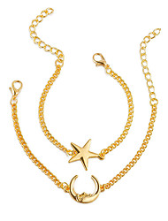 cheap -Women's Chain Bracelet Layered Moon Star Ladies Simple Fashion Alloy Bracelet Jewelry Gold / Silver For Gift Daily Street Going out