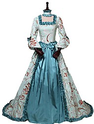 cheap -Rococo Victorian Costume Women's Outfits Print Vintage Cosplay 100% Cotton 3/4 Length Sleeve Puff / Balloon Sleeve Asymmetrical