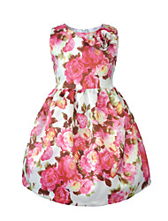 cheap -Toddler Girls' Simple / Vintage Party / Daily Solid Colored / Floral / Jacquard Lace up / Print Sleeveless Cotton / Acrylic Dress Pink 2-3 Years(100cm)