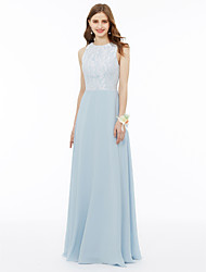 cheap -A-Line / Ball Gown Jewel Neck Floor Length Chiffon / Metallic Lace Bridesmaid Dress with Appliques / Draping / Pleats