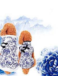 cheap -Dog Shirt / T-Shirt Vest Winter Dog Clothes White Blue Costume Padded Fabric Faux Linen Linen&Cotton Blend Floral / Botanical Reactive Print Toile Stylish Leisure Trendy M L XL XXL