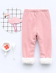 Недорогие -Дети (1-4 лет) Девочки Активный Однотонный Хлопок Бамбуковая ткань Брюки Коричневый