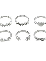 cheap -Women's Knuckle Ring 6pcs Gold Silver Alloy Rock Fashion Street Going out Jewelry Heart Cheap