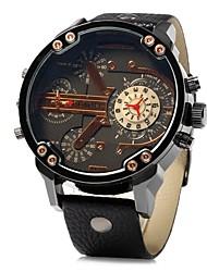 cheap -JUBAOLI Men's Wrist Watch Quartz Oversized Leather Black / Brown Cool Large Dial Analog Black LightBlue Yellow