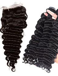 cheap -3 Bundles with Closure Brazilian Hair Deep Wave Human Hair Hair Weft with Closure Human Hair Weaves Human Hair Extensions / 8A