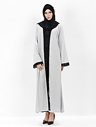 Недорогие -арабский Арабское платье Абайя хиджаб Jalabiya Жен. Фестиваль / праздник Шелково-шерстяная ткань Серый Карнавальные костюмы Однотонный